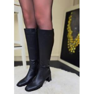 Siyah Hakiki Deri Topuklu Çizme