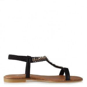 Siyah Yaldızlı Taşlı Lastikli Sandalet