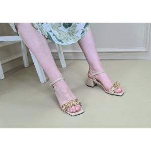Zincirli Sandalet Ten Topuklu Ayakkabı