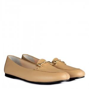 Nude Rengi Ayakkabı Babet Hakiki Deri