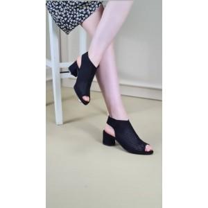 Topuklu Ayakkabı Sandalet Siyah Süet Fileli