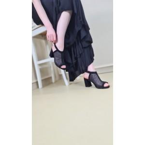 Topuklu Ayakkabı Sandalet Siyah Puantiyeli Tül