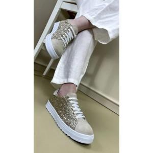 Simli Bağcıklı Spor Ayakkabı Dore Rengi