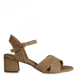 Topuklu Sandalet Çapraz Hasır