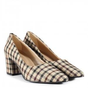 Kalın Topuklu Ayakkabı Ekose Desenli