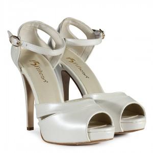 Gelin Ayakkabısı Kırık Beyaz Topuklu