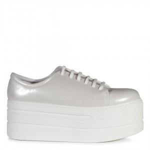 Kırık Beyaz Yaldızlı Spor Gelin Ayakkabı