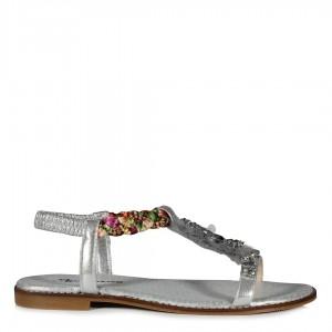 Tasarım Taşlı Renkli Sandalet Lame Rengi