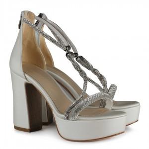 Gelin Ayakkabısı Platform Kırık Beyaz Taşlı
