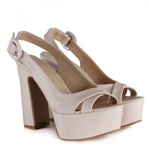 Gelin Ayakkabısı Kırık Beyaz Saten Platform