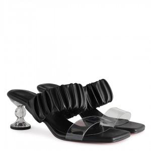 Şeffaf Tasarım Topuklu Siyah Terlik