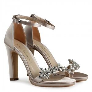 Gelinlik Ayakkabısı Ten Saten Taşlı