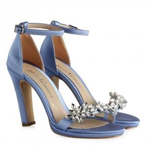 Nikah Ayakkabısı Mavi Saten Taşlı