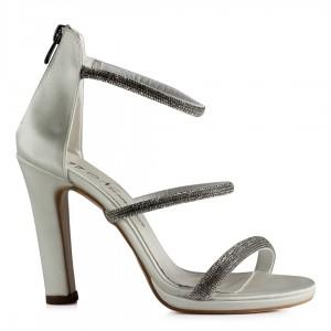 Gelin Ayakkabısı 3 Bantlı Taşlı Saten
