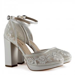 Gelin Ayakkabısı Dantel İşleme Kırık Beyaz