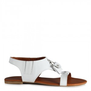 Beyaz Sandalet Hakiki Deri