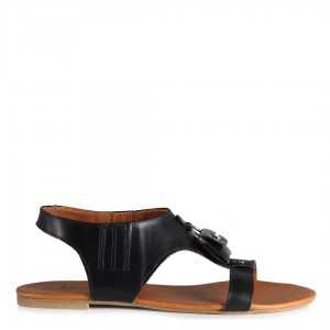 Siyah Sandalet Hakiki Deri