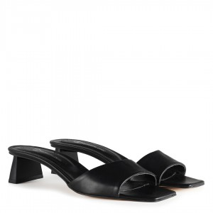 Bantlı Topuklu Terlik Siyah