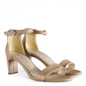 Topuklu Sandalet Tek Bantlı Ten Rengi