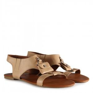 Sandalet Hakiki Deri Ten Rengi