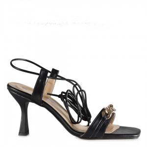 Topuklu Zincirli Ayakkabı Sandalet Siyah