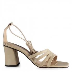 Topuklu Ayakkabı Sandalet Bantlı Ten Rengi