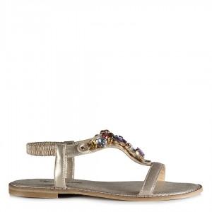 Sandalet Renkli Taşlı Dore Yaldızlı