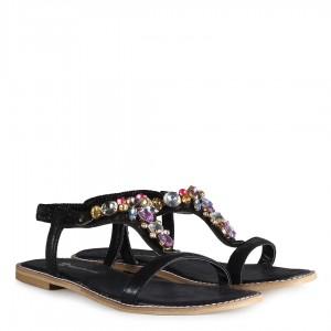 Siyah Yaldızlı Sandalet Renkli Taşlı