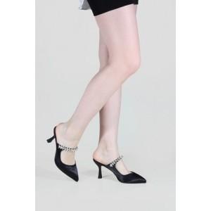Stiletto Terlik Siyah Saten Taşlı  Tokalı