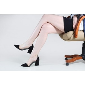 Stiletto Siyah Süet Şeffaf Kalın Topuklu