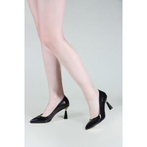 Siyah Parlak Stiletto Tasarım Topuklu