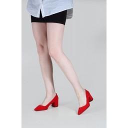 Kalın Topuklu Ayakkabı Kırmızı Süet
