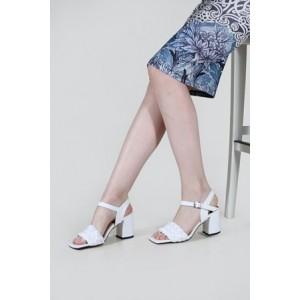 Topuklu Sandalet Beyaz Örgü Model