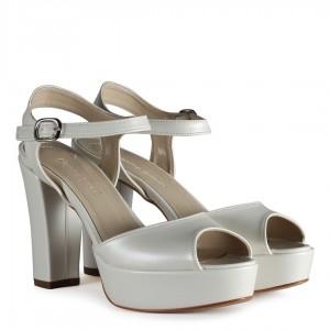 Gelin Ayakkabısı Platform Kırık Beyaz
