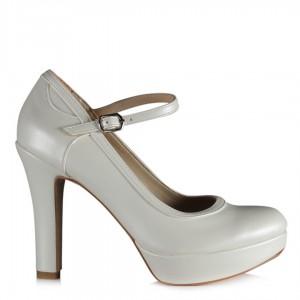Gelin Ayakkabısı Balerin Kemerli Kırık Beyaz