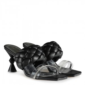 Topuklu Terlik Siyah Örgü Şeffaf Bant