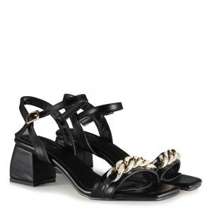 Topuklu Ayakkabı Sandalet Siyah Zincirli