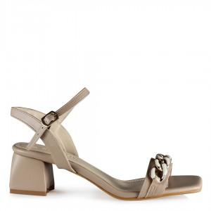 Topuklu Ayakkabı Sandalet Vizon Rengi