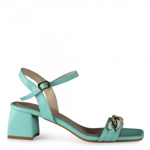 Su Yeşili Zincirli Topuklu Ayakkabı Sandalet