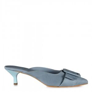 Mavi Süet Sivri Burun Stiletto Terlik