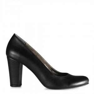 Siyah Klasik Topuklu Ayakkabı Kalın Topuk