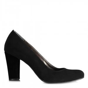 Topuklu Ayakkabı Siyah Nubuk Kalın Topuklu