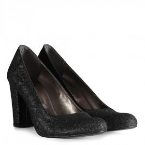 Siyah Simli Topuklu Ayakkabı