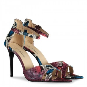 Açık Stiletto Ayakkabı Renkli Yılan Kemerli