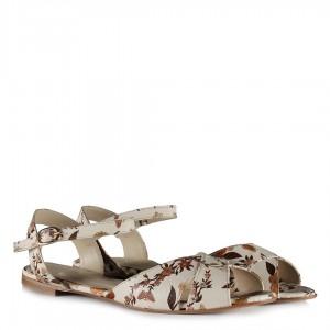Bej Çiçekli Sandalet Kemerli