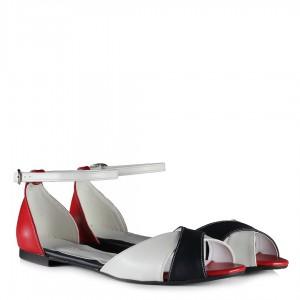 Kemerli Sandalet Kırmızı Beyaz Lacivert