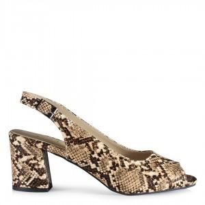 Topuklu Ayakkabı Kalın Topuklu Kahverengi Yılan