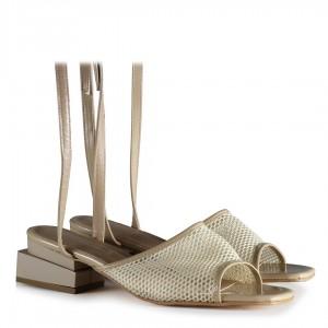 Çift Ökçeli File Topuklu Ayakkabı Sandalet Ten Rengi