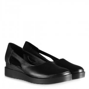 Siyah Hakiki Deri Dolgu Topuk Ayakkabı