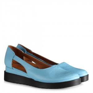 Dolgu Topuk Ayakkabı Mavi Hakiki Deri
